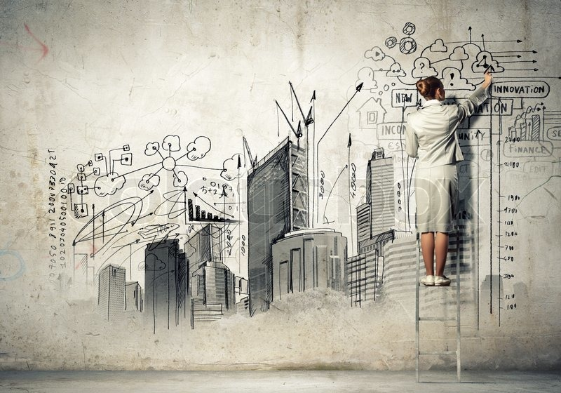 businesswoman drawing on wall | stock photo | colourbox