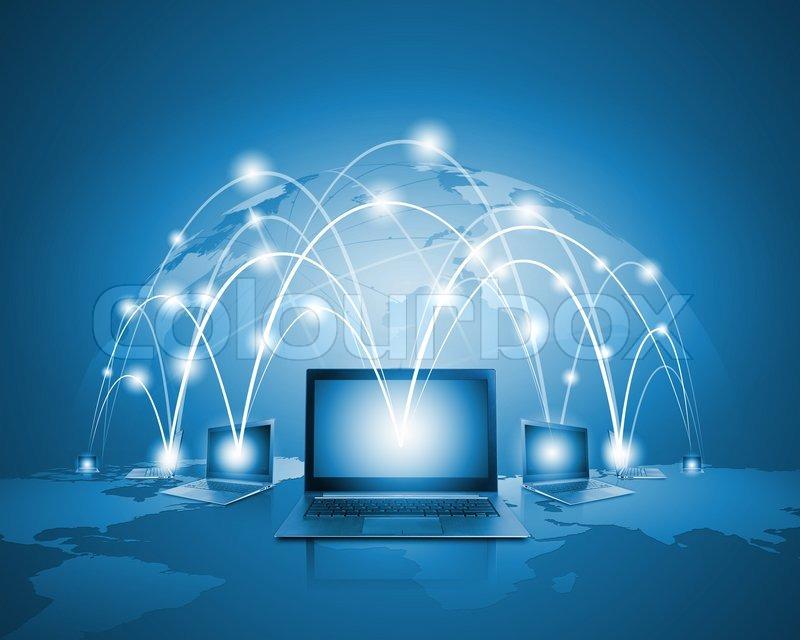 Laptops against globe blue illustration. Globalization concepts, stock photo