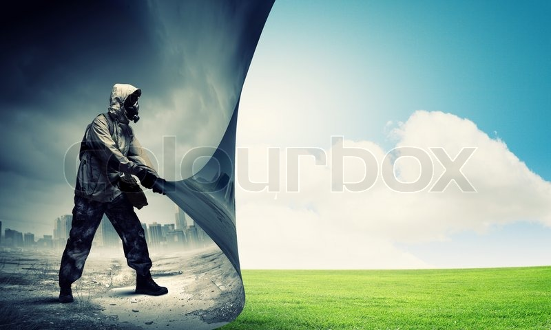 Image of man in gas mask turning page. Ecology concept, stock photo
