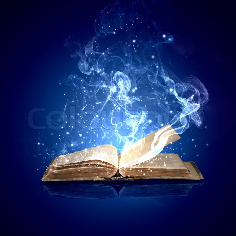 Image of opened magic book with magic lights   Stock Photo ...
