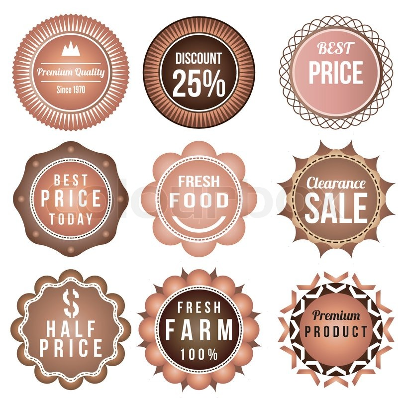 Product vintage labels template set brown theme retro badge logo product vintage labels template set brown theme retro badge logo template design vector stock vector colourbox maxwellsz