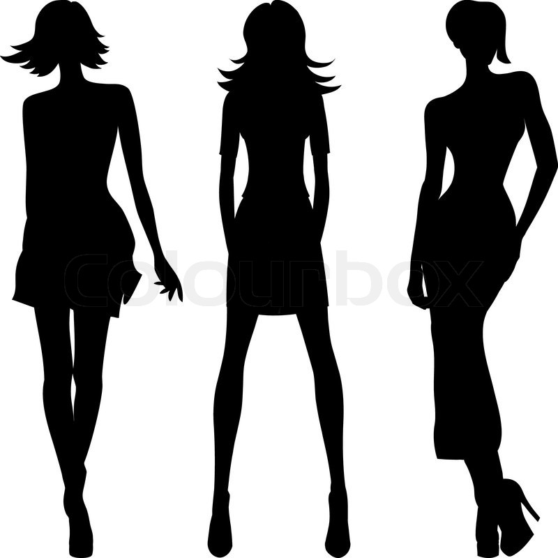 Vector silhouette of fashion girls top models | Stock ...