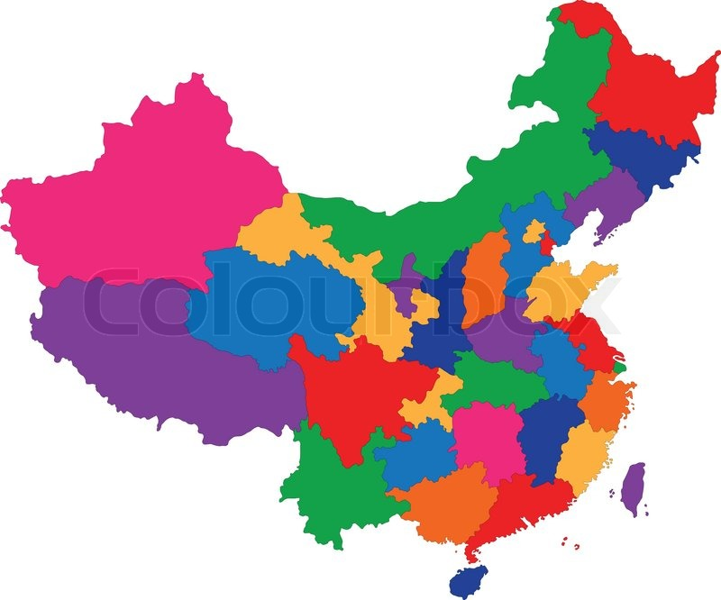 Kort Over Kina Stock Vektor Colourbox