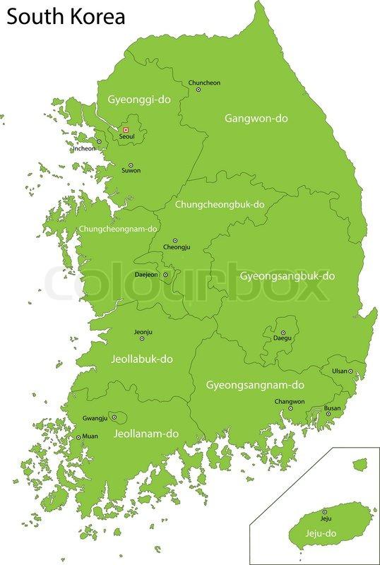 Green South Korea Map Stock Vector Colourbox