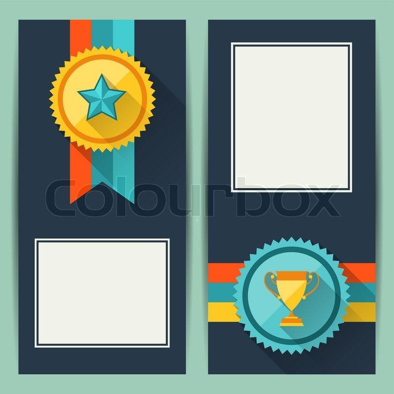 Zertifikat -Vorlagen mit Trophäen und Auszeichnungen | Vektorgrafik ...