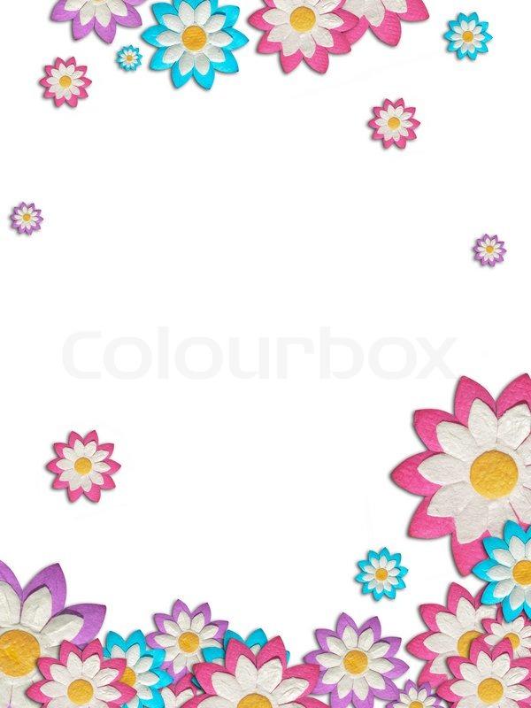 bunte papierblumen schaffen einen rahmen auf wei em hintergrund stockfoto colourbox. Black Bedroom Furniture Sets. Home Design Ideas