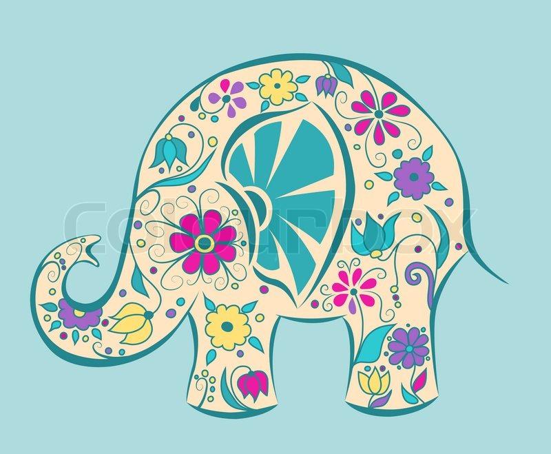 Blauer Elefant von Blumen gemalt   Vektorgrafik   Colourbox