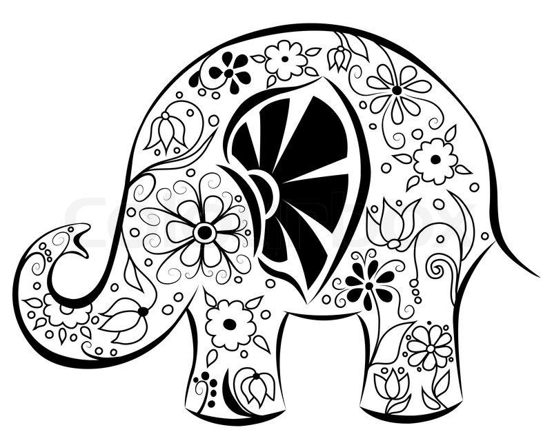 Silhouette eines Elefanten gemalt von Blumen   Vektorgrafik   Colourbox