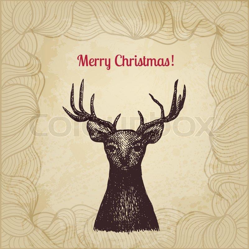 Weihnachtskarten Mit Kugelschreiber.Vintage Vector Weihnachtskarte Mit Stock Vektor Colourbox