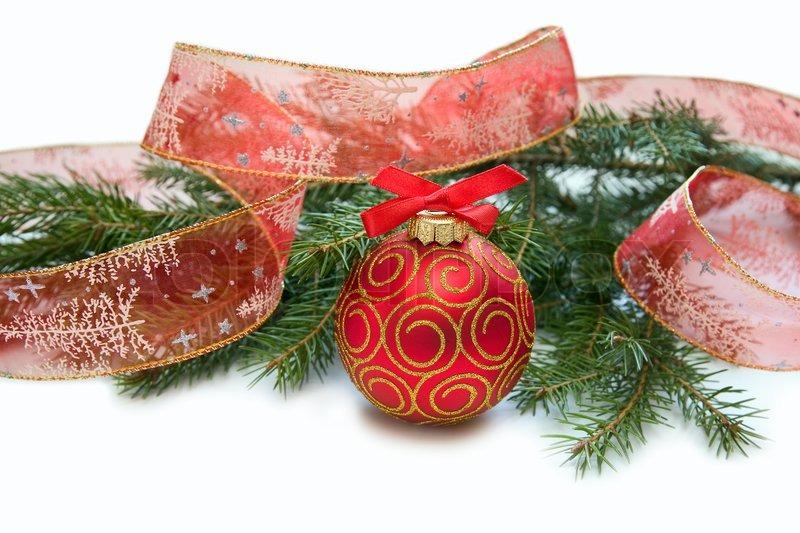 weihnachten rote kugel von tannenzweig band mit. Black Bedroom Furniture Sets. Home Design Ideas