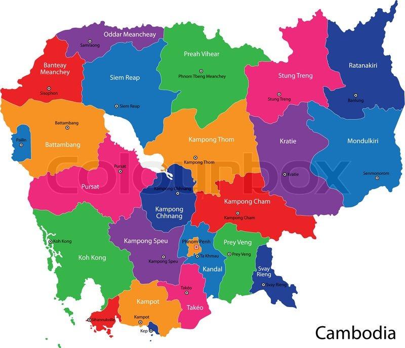 Kambodscha Karte.Kambodscha Karte Stock Vektor Colourbox