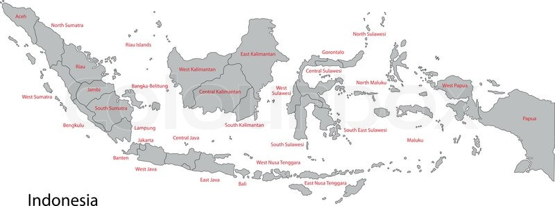 Map Of Administrative Divisions Of Indonesia Stock Vector - Indonesia map