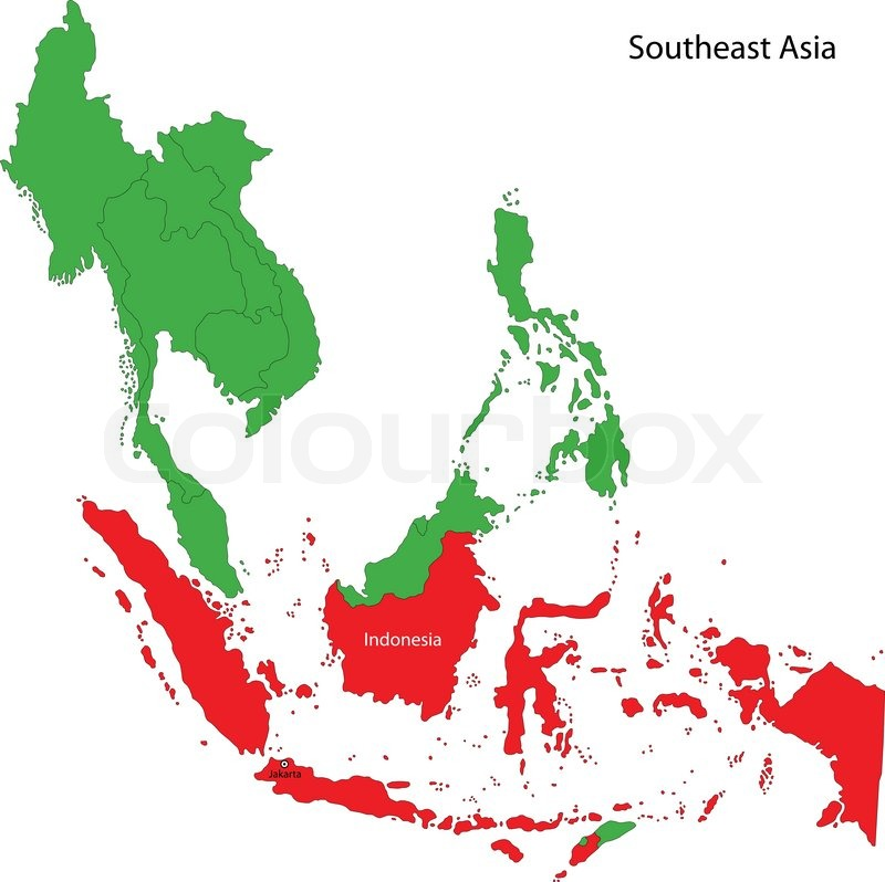 Location Of Indonesia On Southeast Stock Vector Colourbox