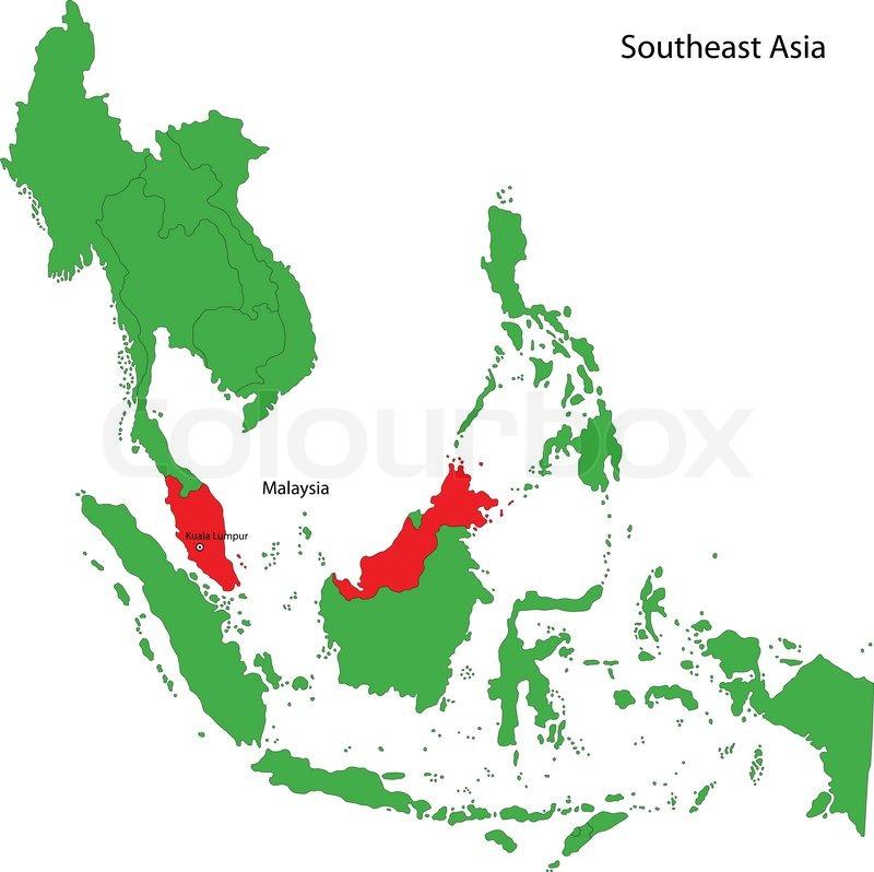 Malaysia Map Stock Vector Colourbox