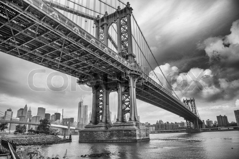 The Manhattan Bridge, New York City. Awesome wideangle upward view, stock photo