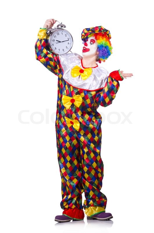 lustiger clown isoliert auf den wei en stockfoto colourbox. Black Bedroom Furniture Sets. Home Design Ideas