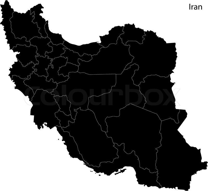 Black Iran Map Stock Vector Colourbox