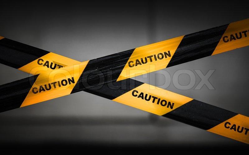 Extrem Schwarz und gelb gestreifte Absperrband   Stock Bild   Colourbox CR05