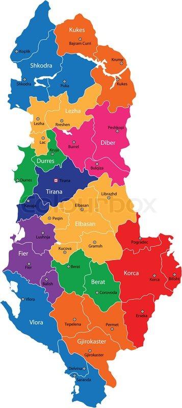 Karte Albanien.Albanien Karte Stock Vektor Colourbox