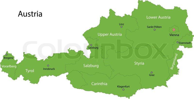 Green Kort Over Ostrig Stock Vektor Colourbox