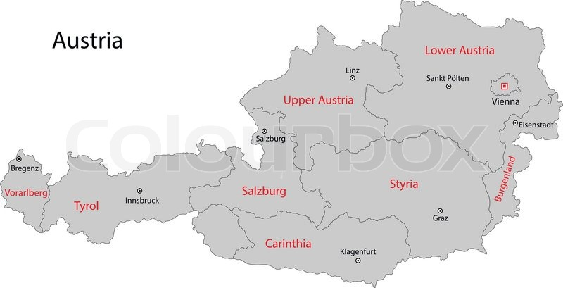 Gray Austria Map With States And Main Stock Vector Colourbox