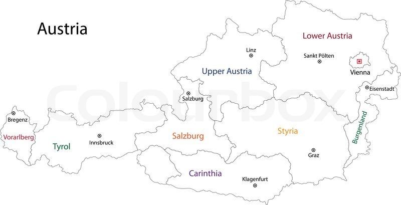 Outline Kort Over Ostrig Stock Vektor Colourbox