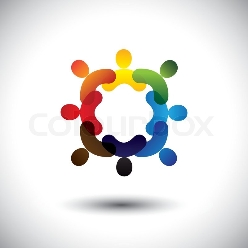 Abstract colorful community people icons in circle vector graphic abstract colorful community people icons in circle vector graphic this icon illustration can also represent concept of children playing together or sciox Images