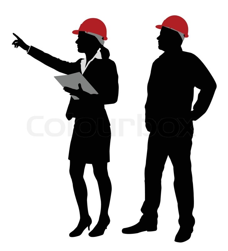 Foreman Builders Mail: Engineer And Foreman Working Silhouettes - Vector