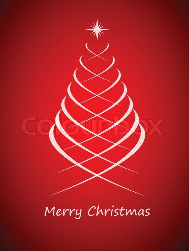 Simple Christmas Tree On Red Background, Merry Christmas Card, Vector