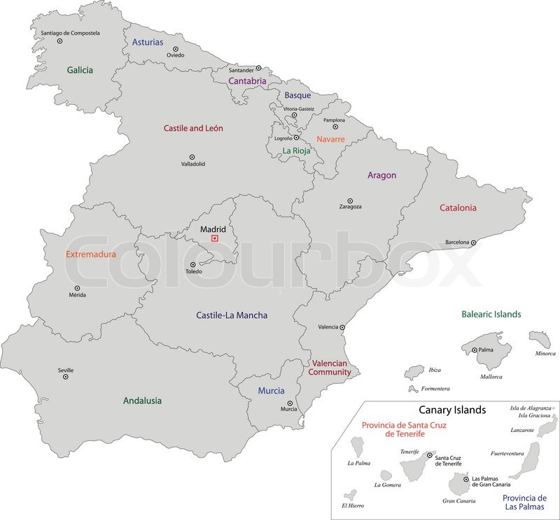 Spanische Karte.Grau Spanien Karte Stock Vektor Colourbox