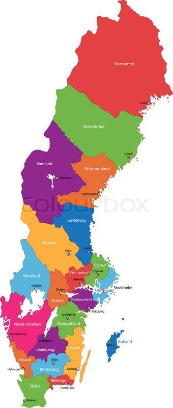 Schweden Karte Vektorgrafik Colourbox