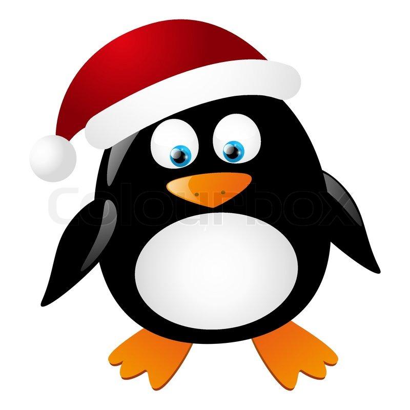 cute santa pinguin isoliert auf wei vektorgrafik. Black Bedroom Furniture Sets. Home Design Ideas