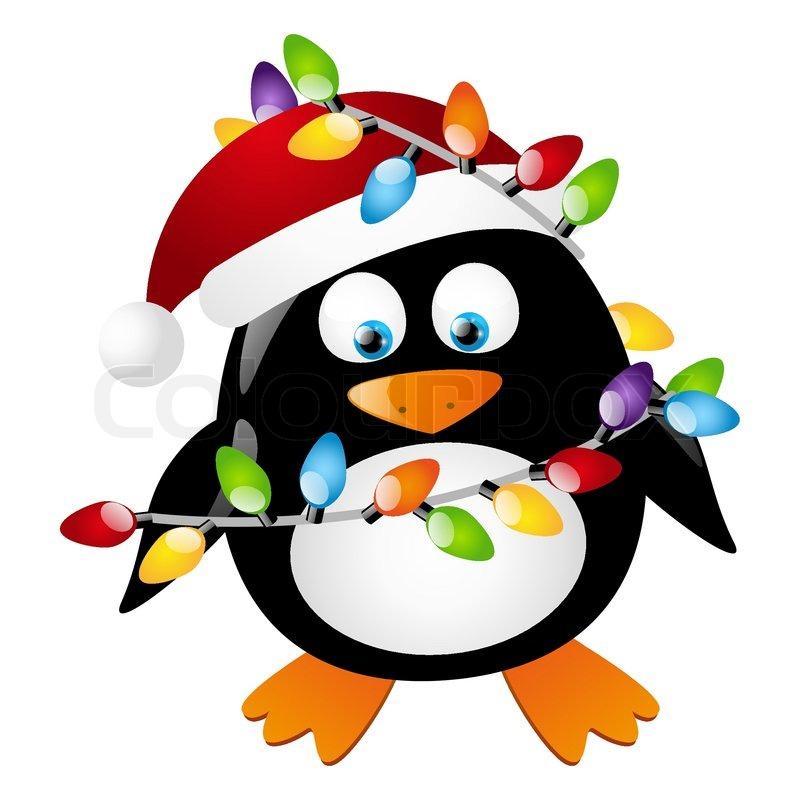 pinguin mit weihnachten gl hbirnen stock vektor colourbox. Black Bedroom Furniture Sets. Home Design Ideas