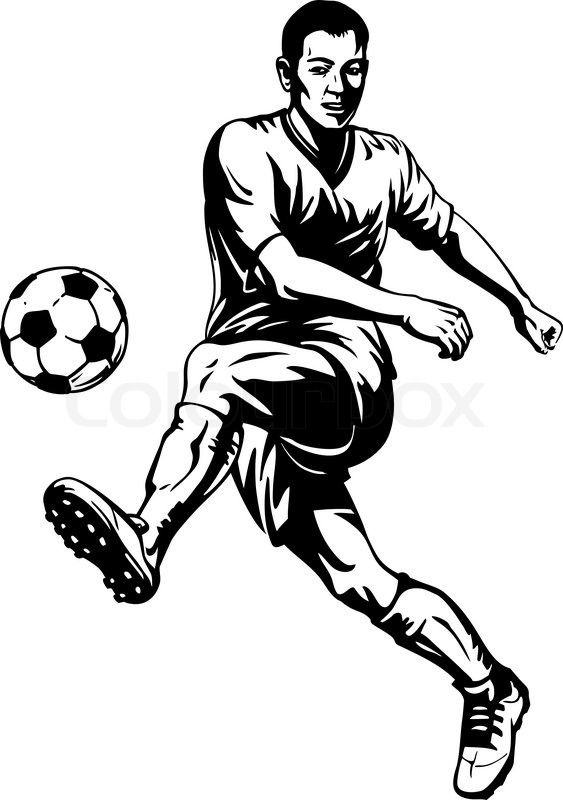 Soccer Football Player In Motion Stock Vector