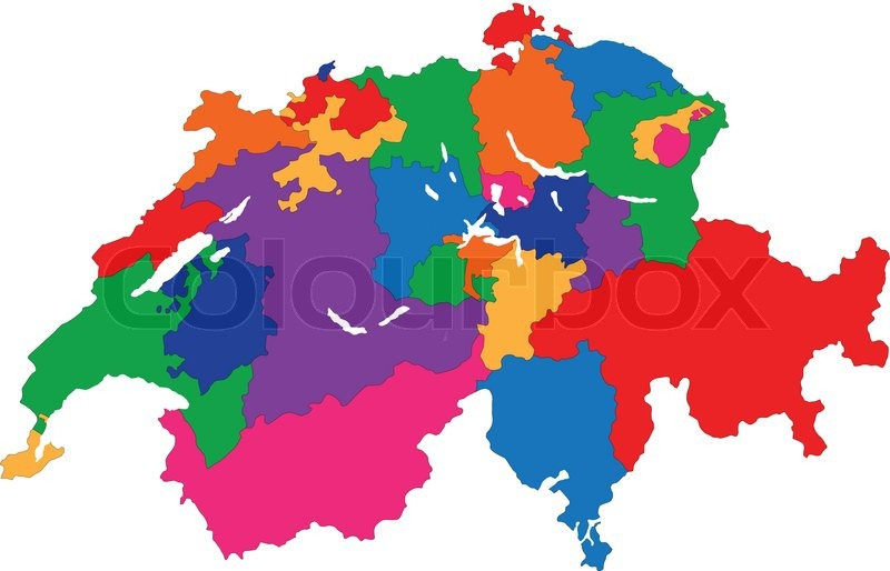Kort Over Schweiz Stock Vektor Colourbox