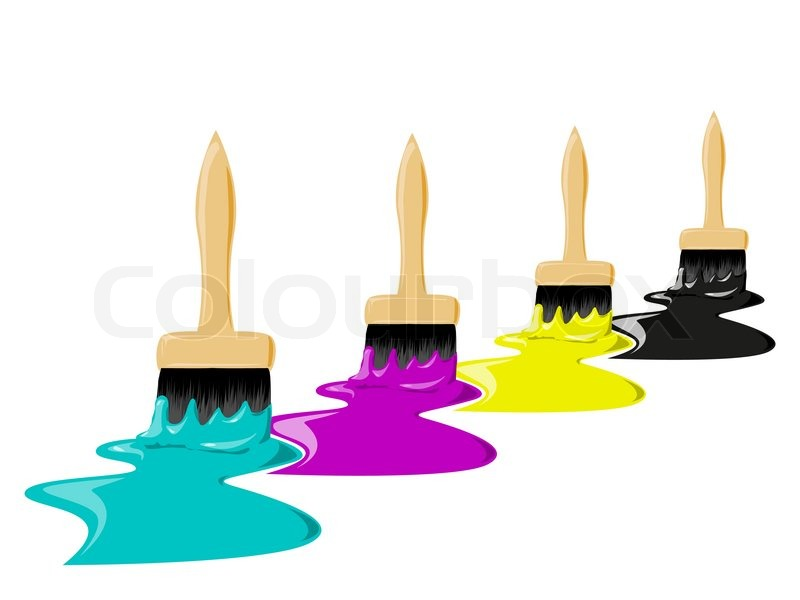 pinsel mit farbe farben konzept der cmyk vektorgrafik colourbox. Black Bedroom Furniture Sets. Home Design Ideas