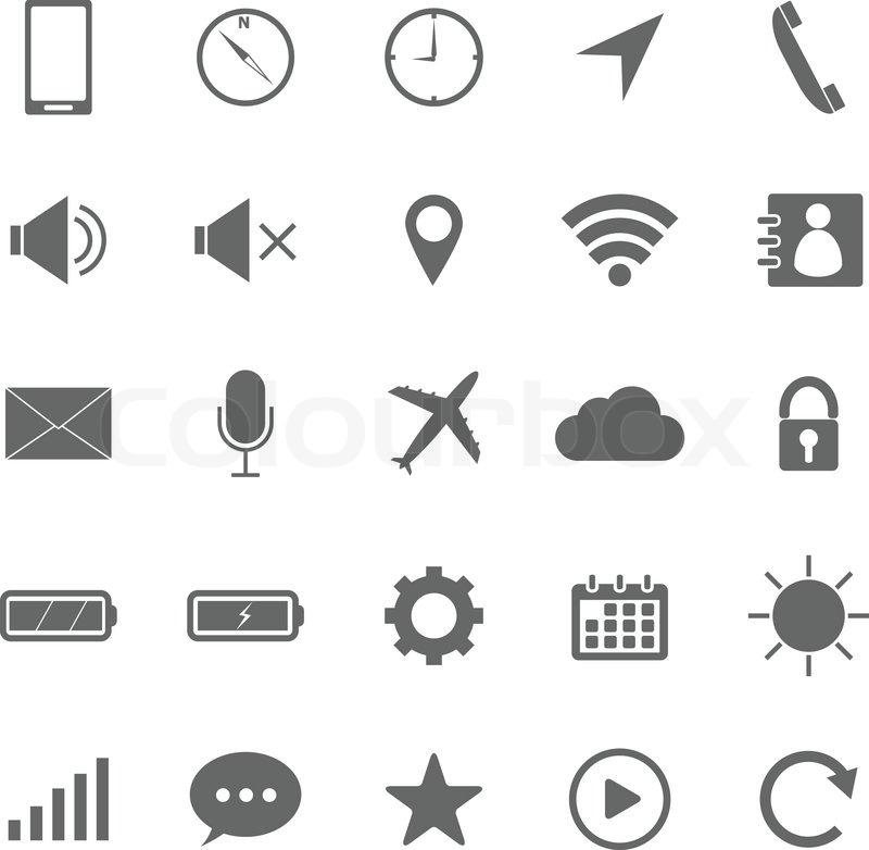 Handy- Symbole auf weißem Hintergrund | Stock-Vektor