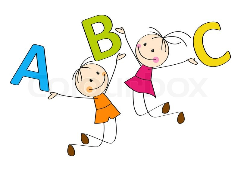 Jumping kids with letters a b c stock vector colourbox for Mobel 9 buchstaben