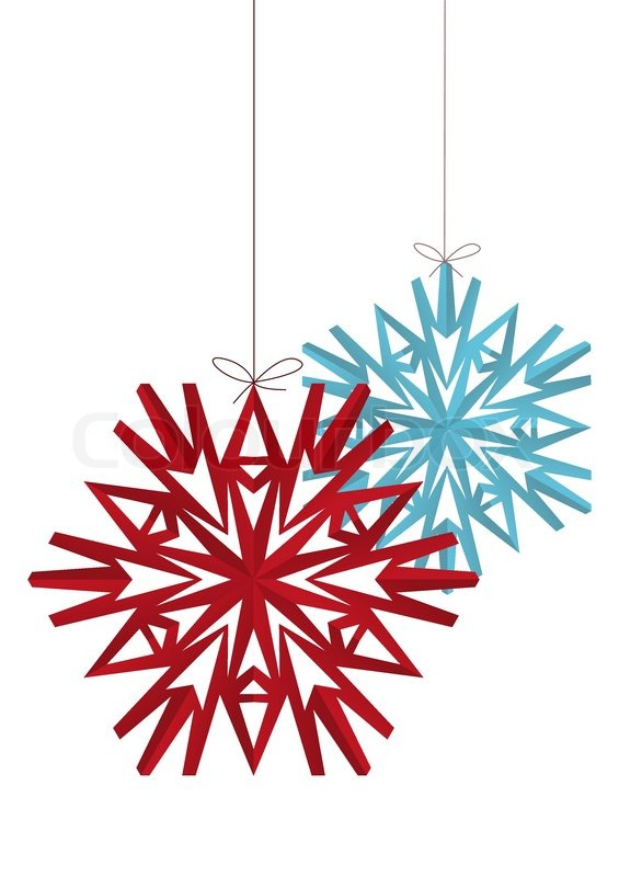 Two Paper Origami Snowflakes Isolated Stock Vector Colourbox