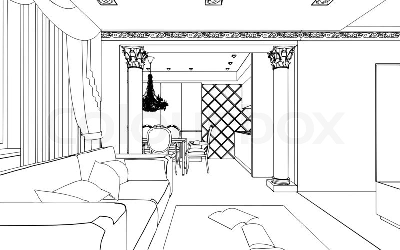 Outline Drawing of House