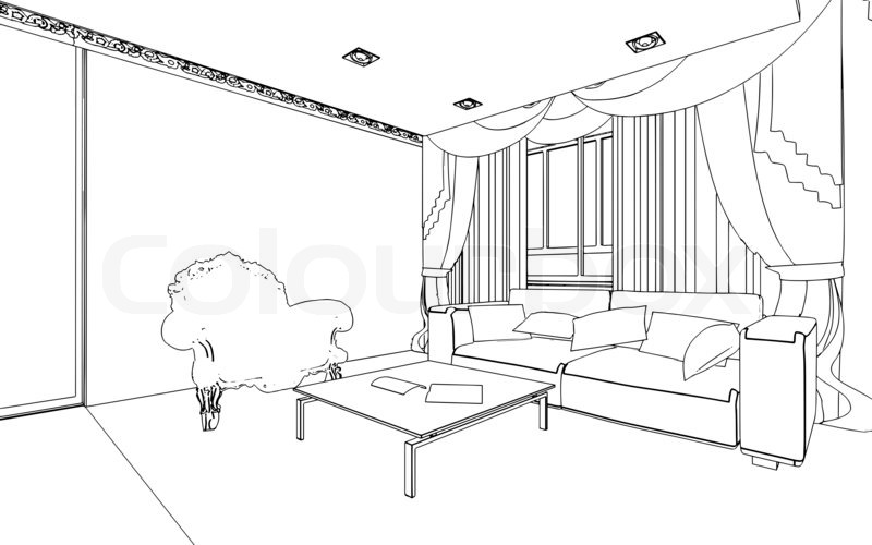 Illustration of an outline sketch of a interior 3d for 3d bedroom drawing