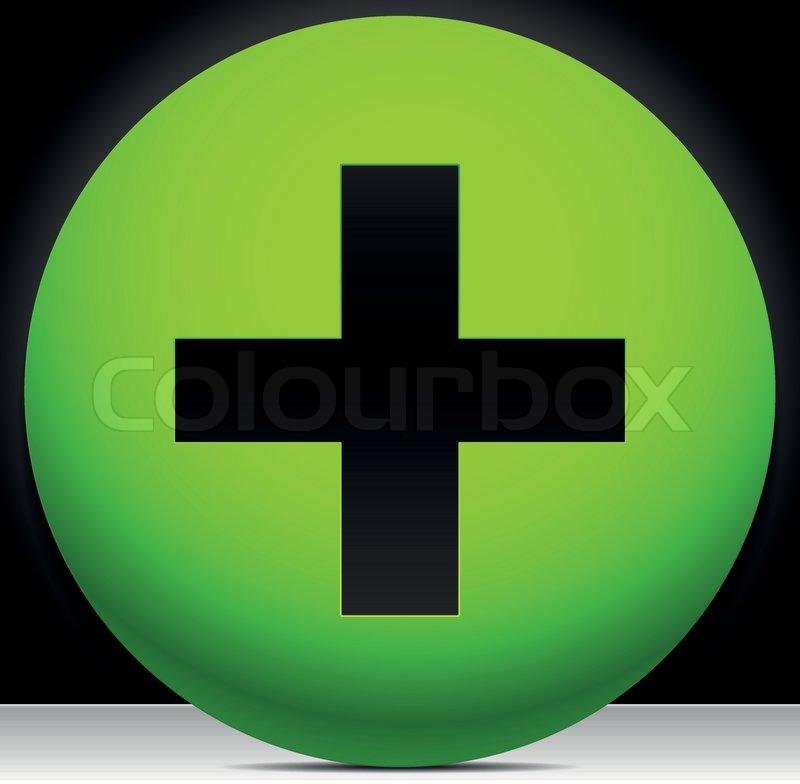 Plus Add Cross In Green Circle Plus Sign Symbol Vector Stock