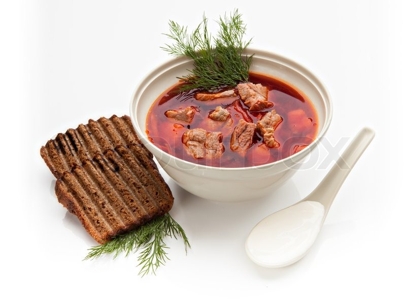 Ukrainian borsch, red-beet soup with slices of black bread, sour cream ...