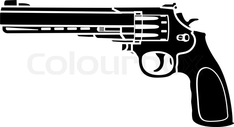 Pistool Kleurplaat Stencil Of Pistol Second Variant Raster Stock Photo