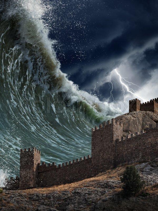 Apocalyptic Dramatic Background Giant Tsunami Waves