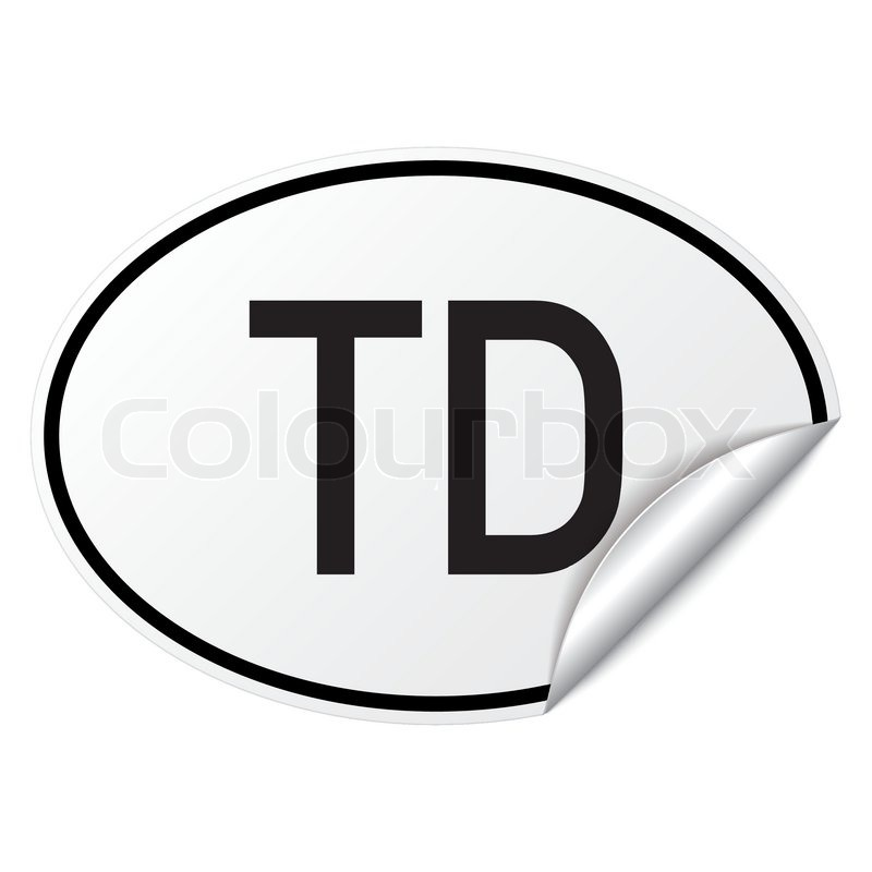 Oval Country Car Sticker Black White Chad Td Stock Vector