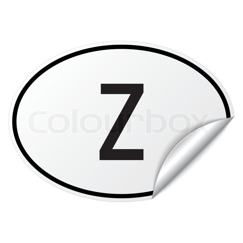 Oval Country Car Sticker Black White Zambia Z Stock Vector