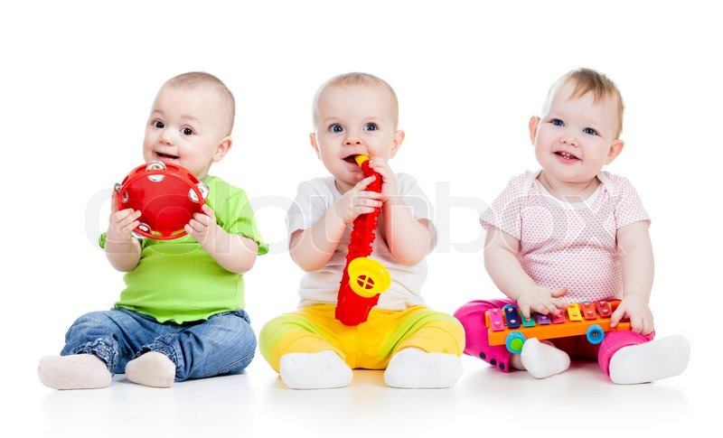 Children playing with musical toys. ...   Stock image ...