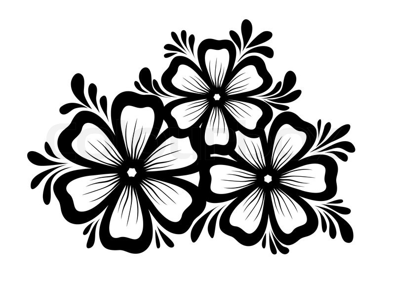 Line Drawing Flower Vector : Beautiful floral element black and white flowers leaves design