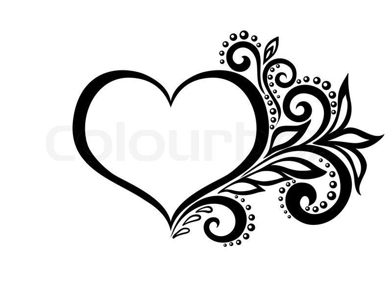 Line Drawing Heart Shape : Schöne silhouette des herzens von spitzen blumen ranken